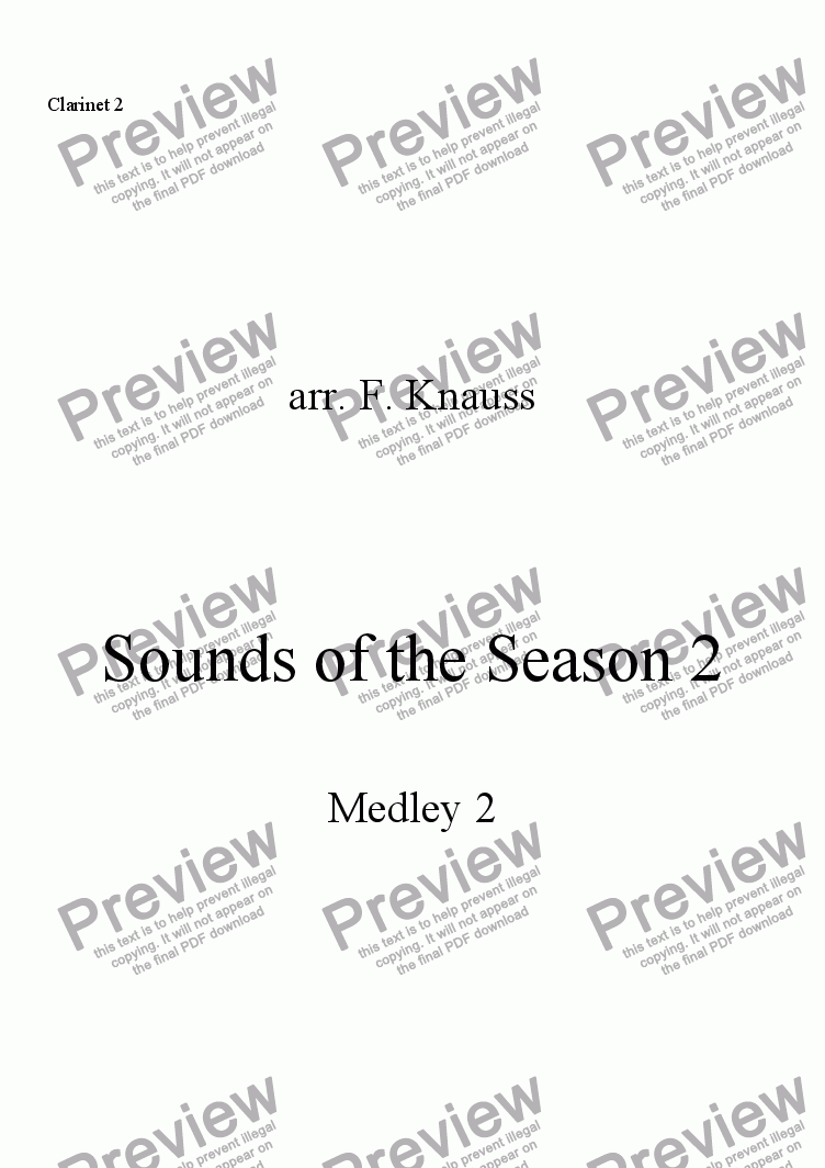 page one of the Clarinet 2 part from Sounds of the Season, Medley 2
