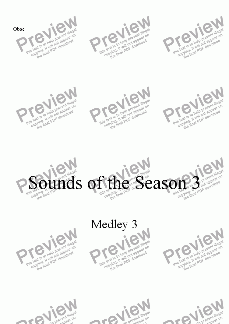 page one of the Oboe part from Sounds of the Season, Medley 3