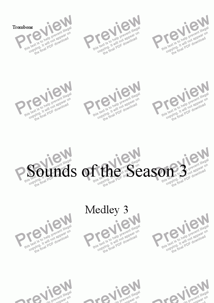 page one of the Trombone part from Sounds of the Season, Medley 3