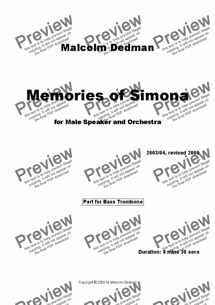 page one of the Bass trombone part from Memories of Simona