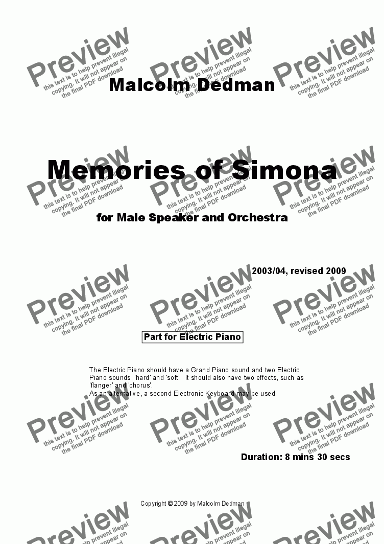 page one of the Electric Piano part from Memories of Simona
