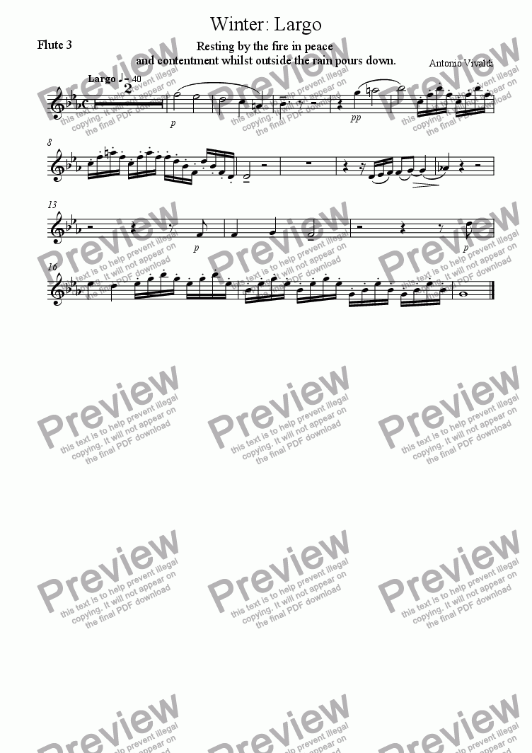 page one of the Flute 3 part from Vivaldis Winter with Winds and strings (2nd movement)