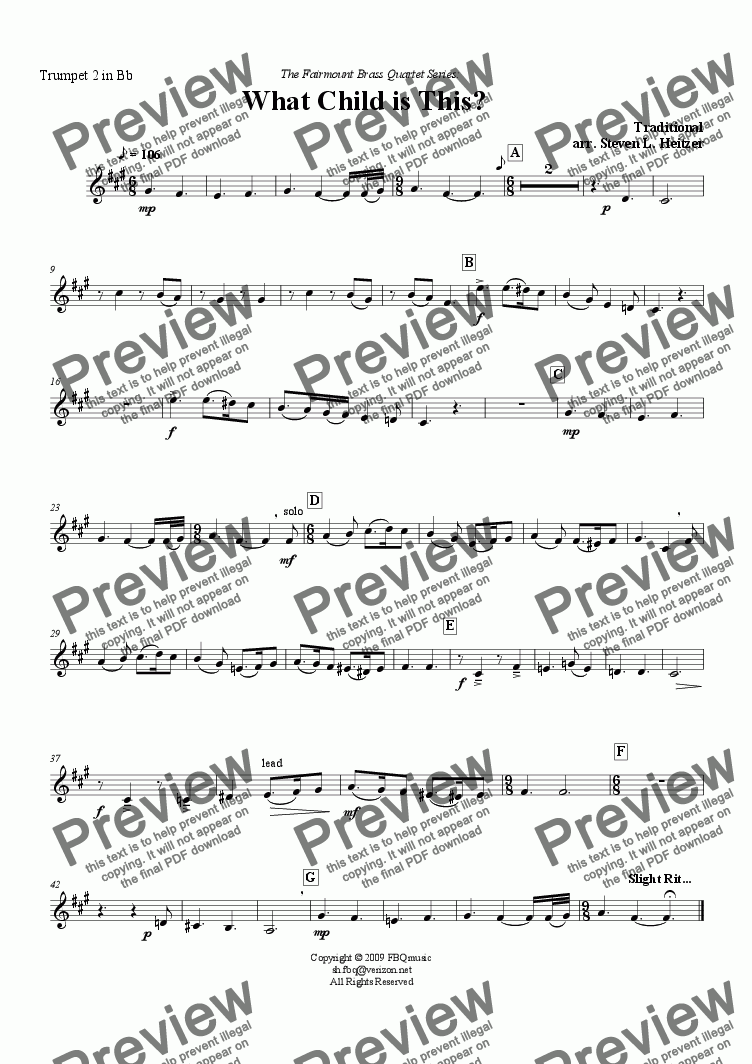 page one of the Trumpet 2 in Bb part from What Child is This / Greensleeves - Brass QUARTET