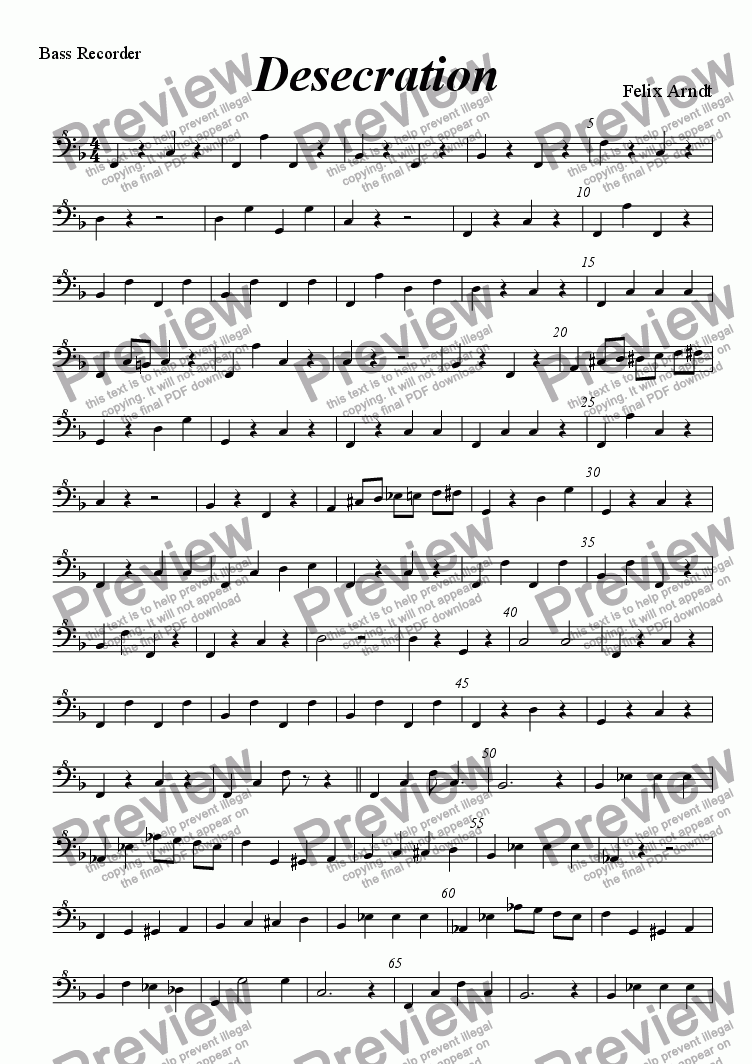 page one of the Bass part from Desecration