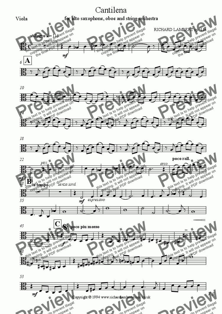 page one of the viola part from Cantilena for alto saxophone, oboe and string orchestra
