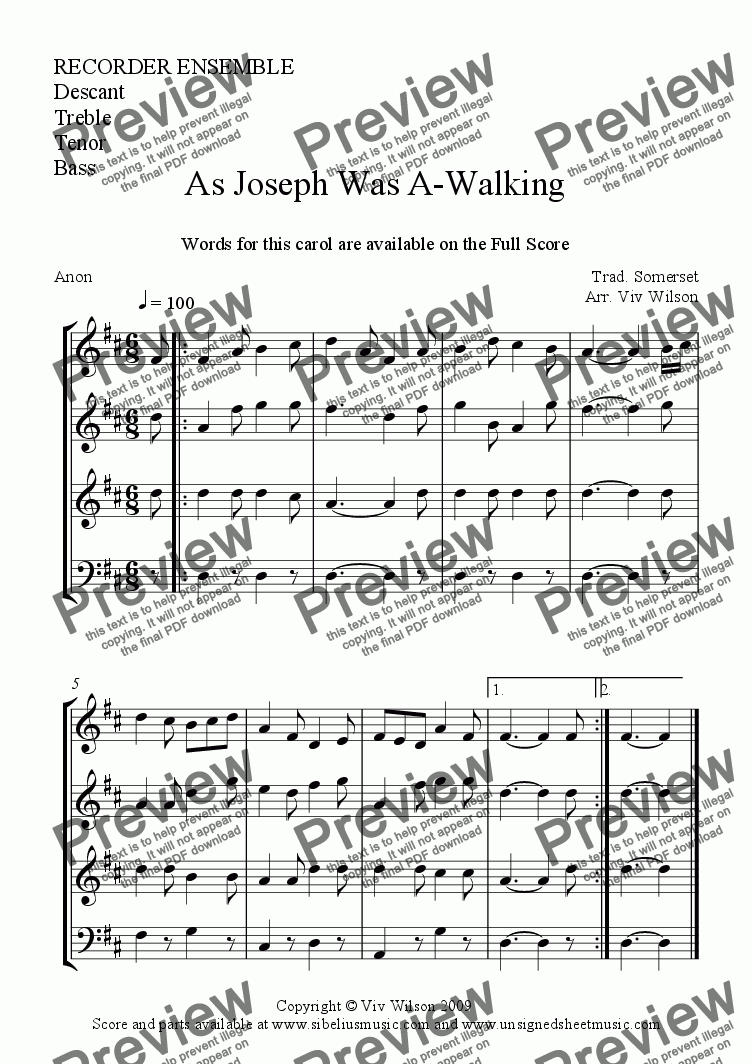 page one of the Main 4 parts: D. Tr. T. B. part from AS JOSEPH WAS AWALKING (Recorder Ensemble)
