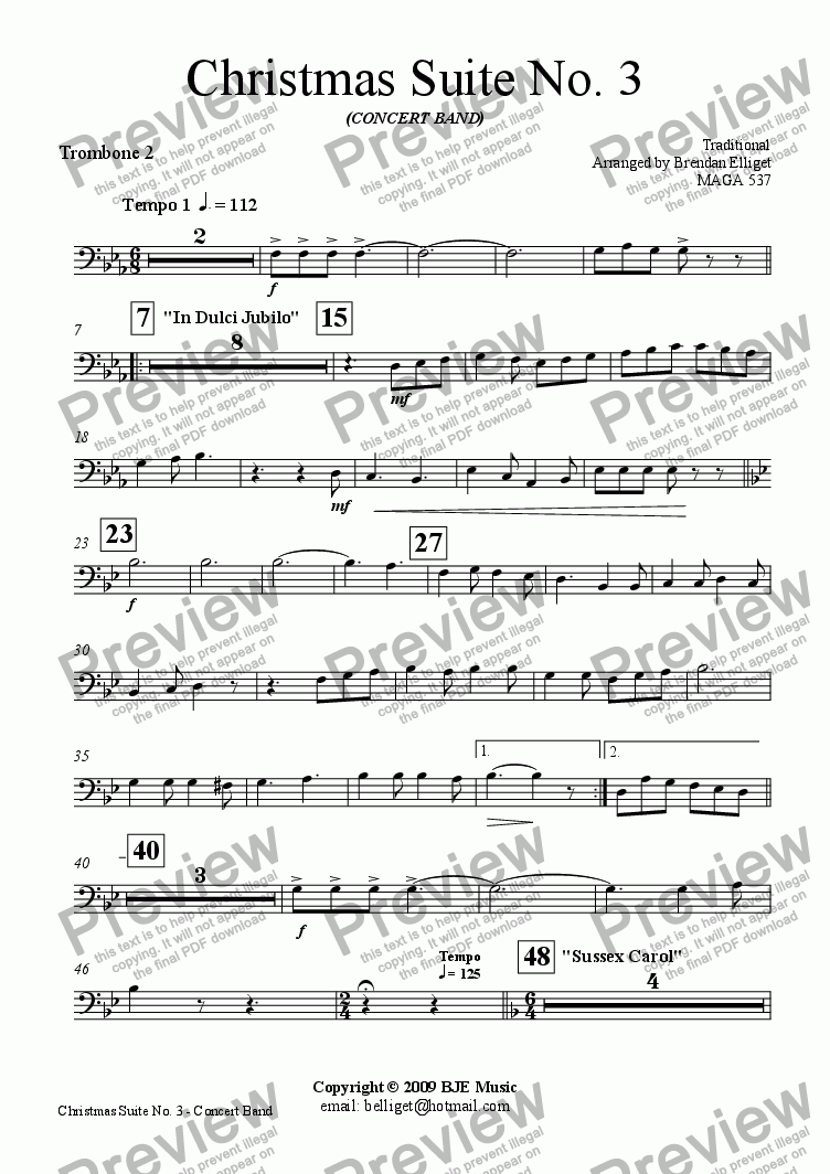 page one of the Trombone 2 part from Christmas Suite No.3 for Concert Band