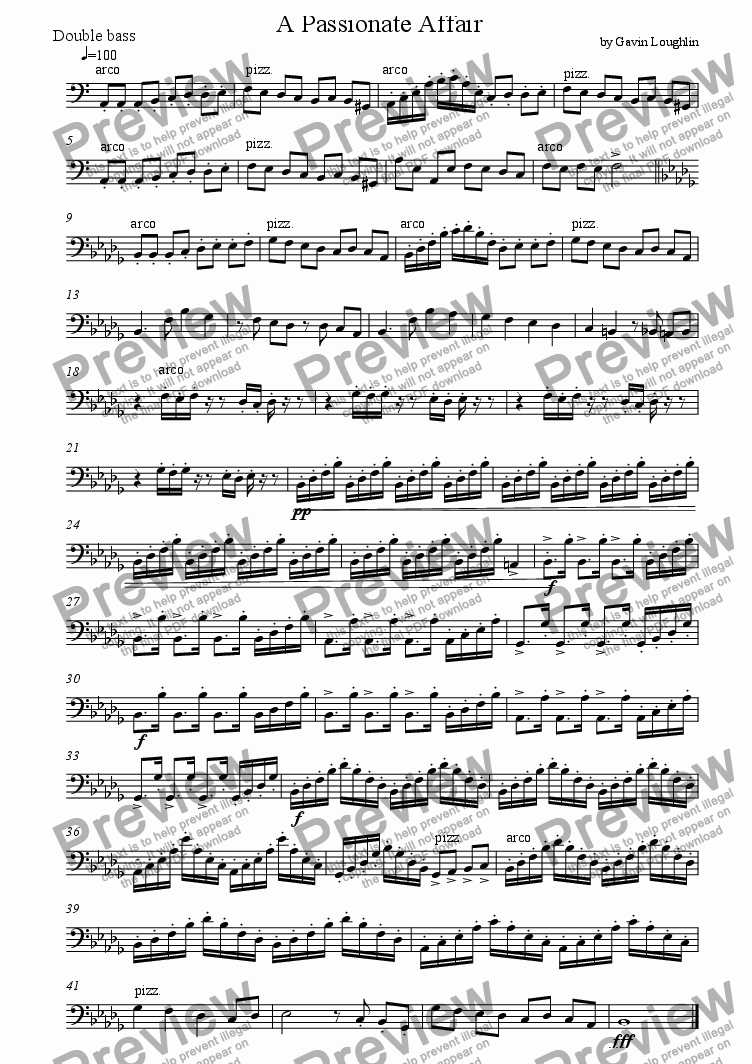 page one of the Double Bass part from A Passionate Affair