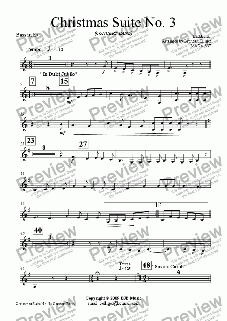 page one of the Bass Eb part from Christmas Suite No.3 for Concert Band