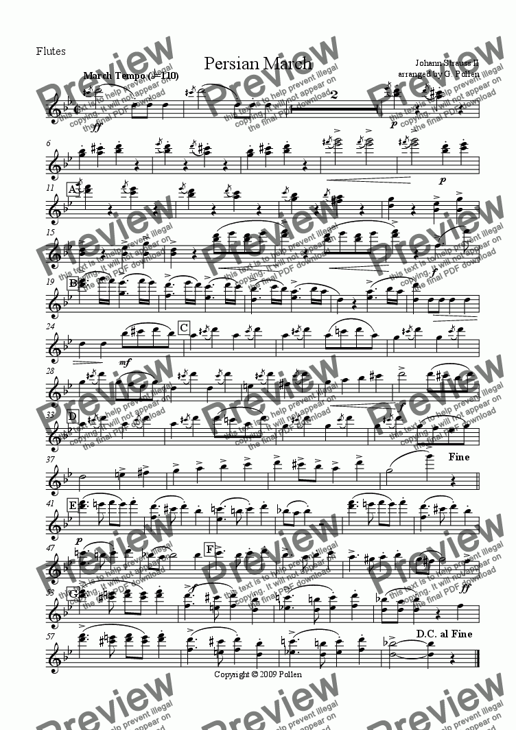 page one of the Flutes part from Persian March Op. 289 for Concert Wind Band