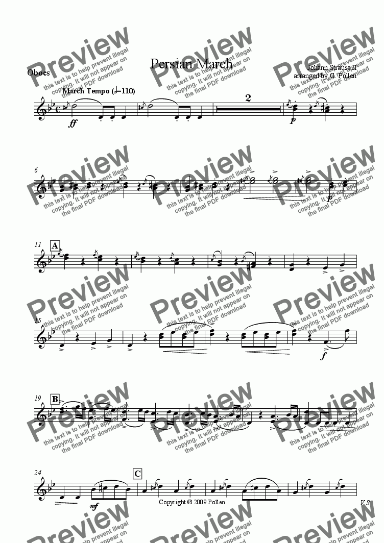 page one of the Oboes part from Persian March Op. 289 for Concert Wind Band