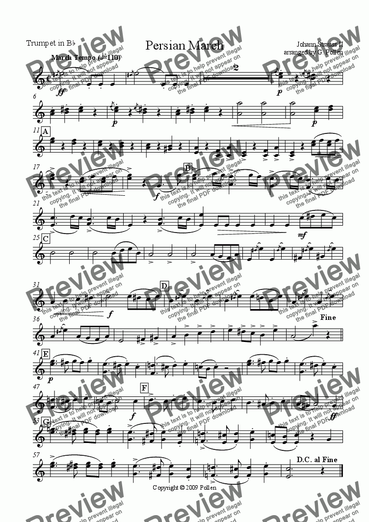 page one of the Trumpets part from Persian March Op. 289 for Concert Wind Band