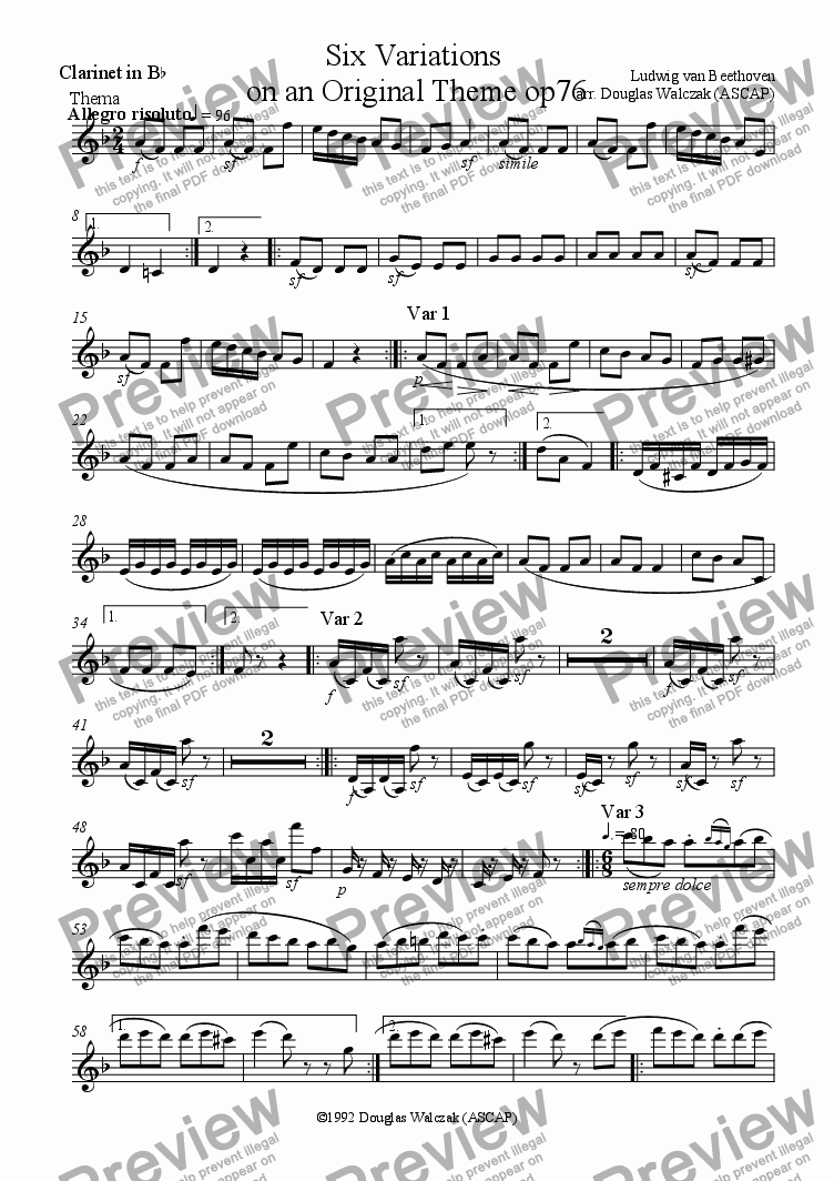 page one of the Clarinet part from Variations on an Original Theme in D Major Op76