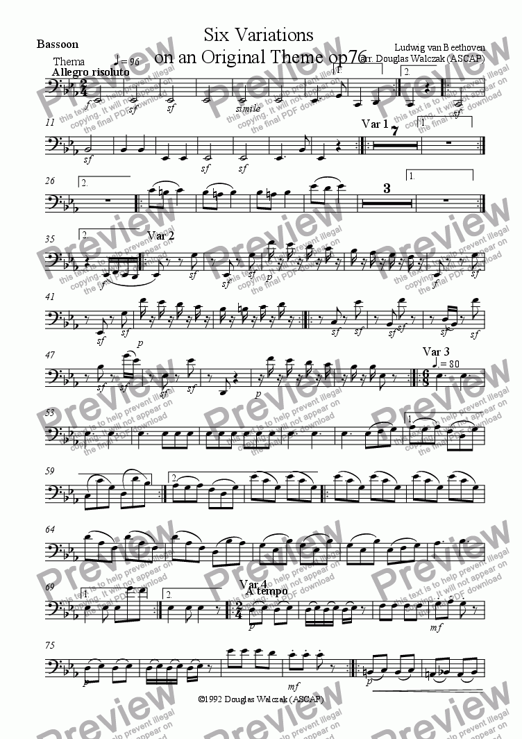 page one of the Bassoon part from Variations on an Original Theme in D Major Op76
