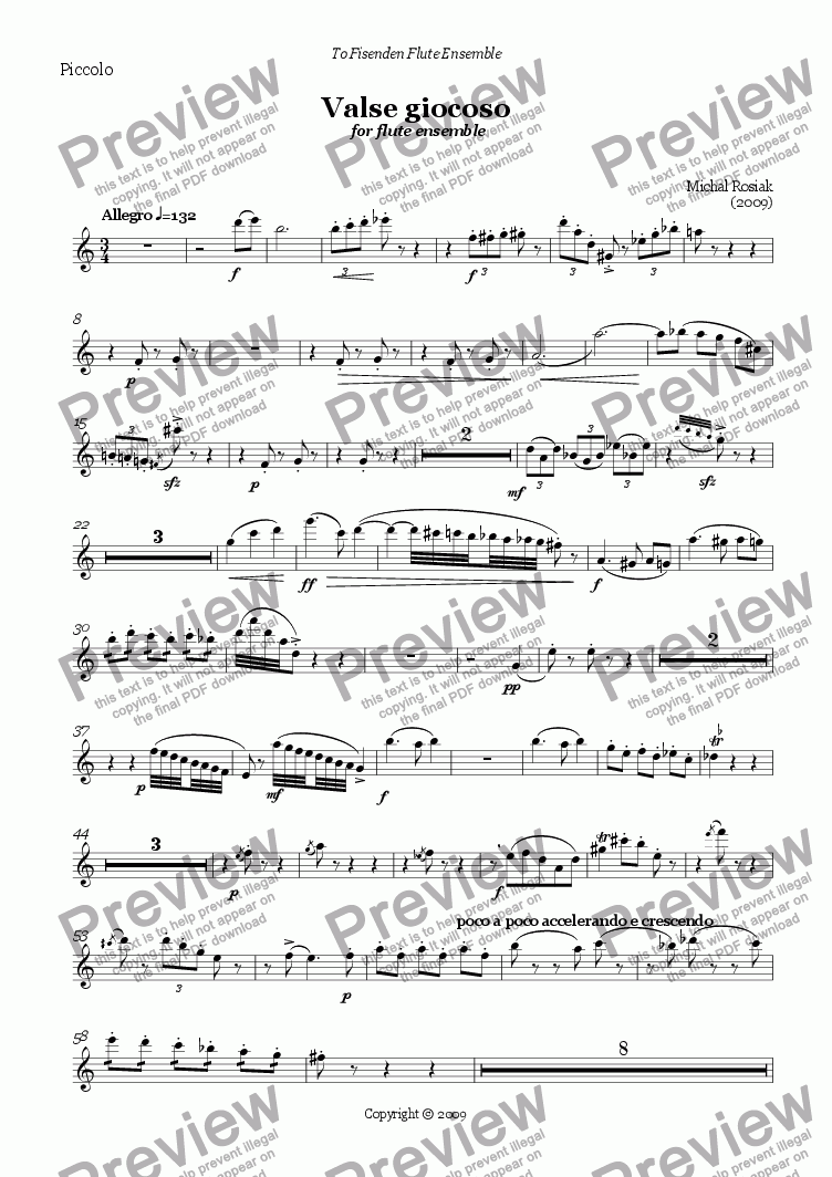 page one of the piccolo part from Valse giocoso