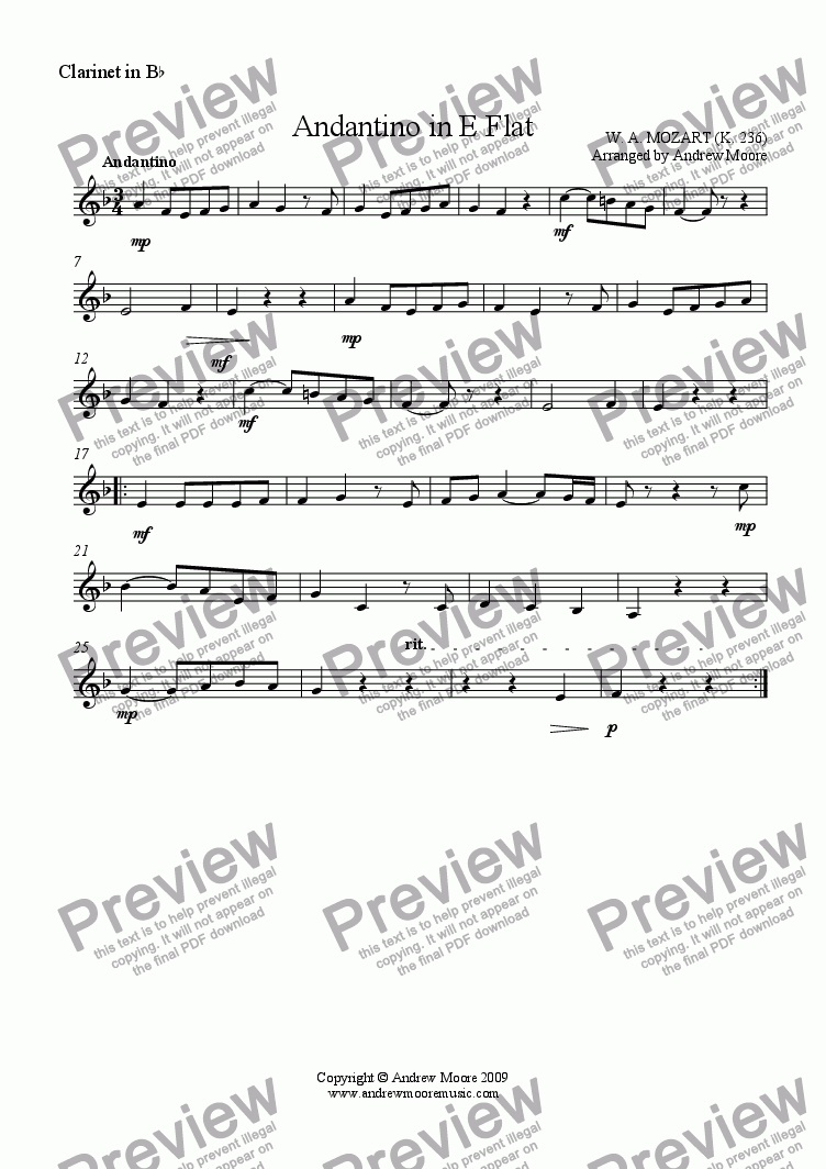 page one of the Clarinet part from 'Andantino in E flat' K. 236 - arr for Wind Trio