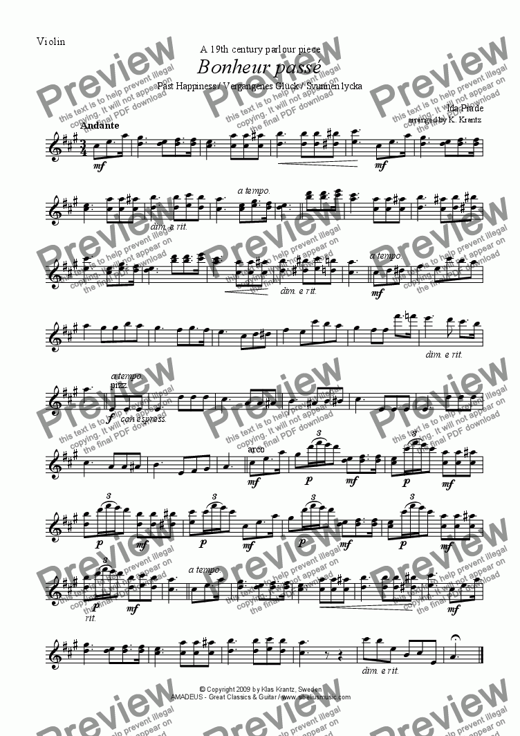 page one of the violin & easy violin part from Bonheur passé / Svunnen lycka for violin and guitar
