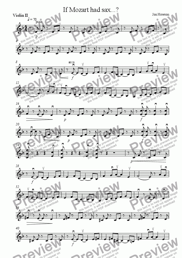 page one of the Violin 2 part from If Mozart had sax...?