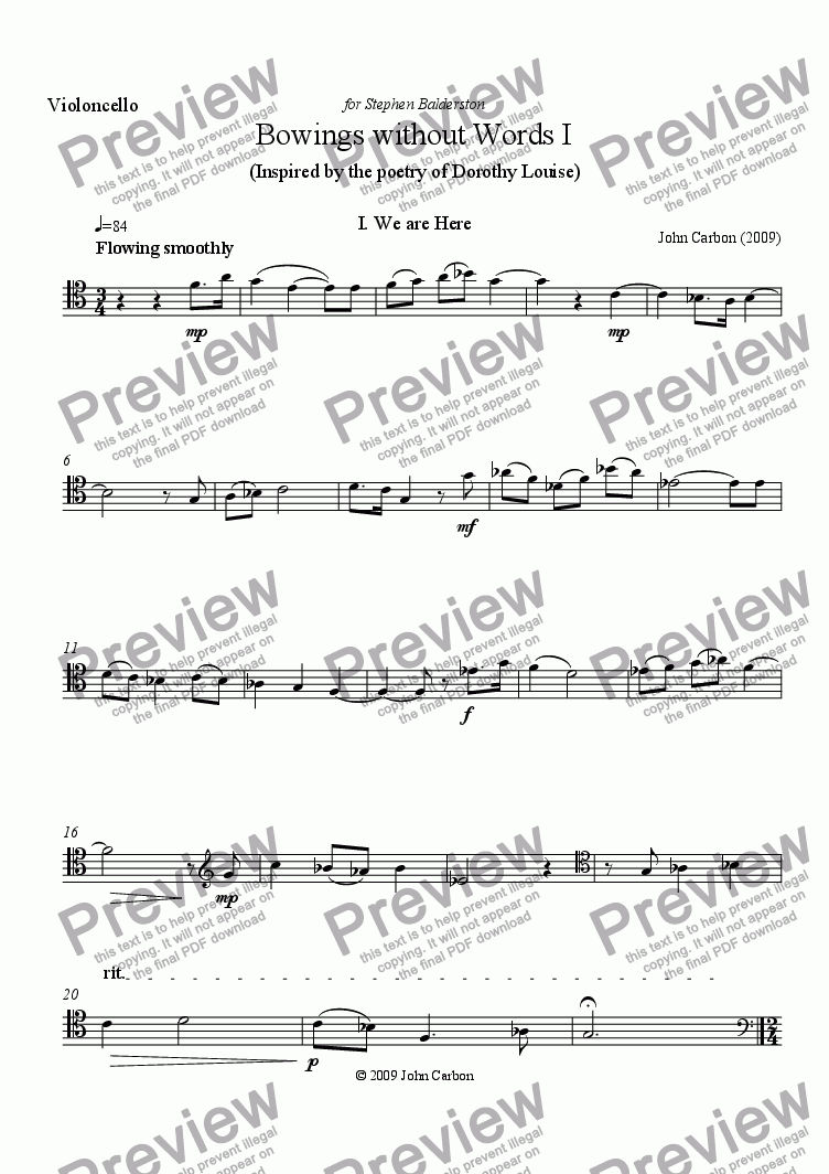 page one of the cello part from Bowings without Words I