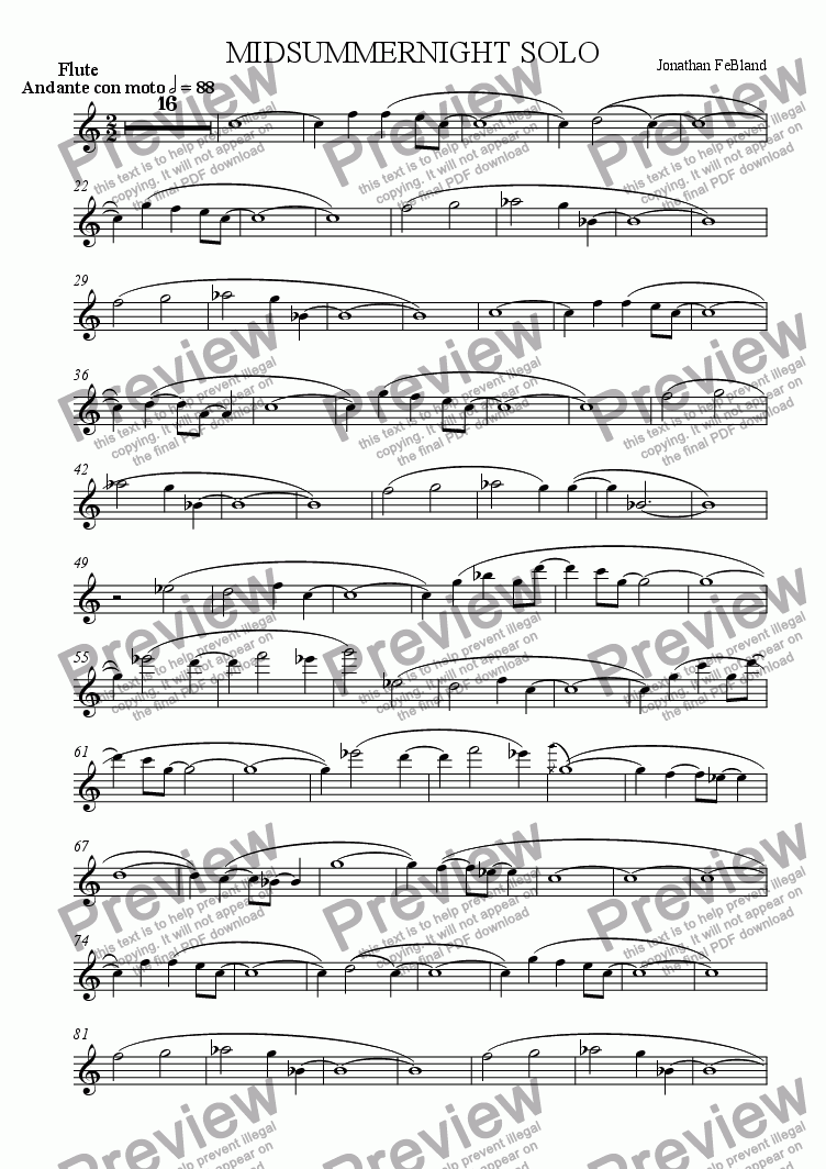 page one of the Flute part from Midsummernight Solo (ens.)