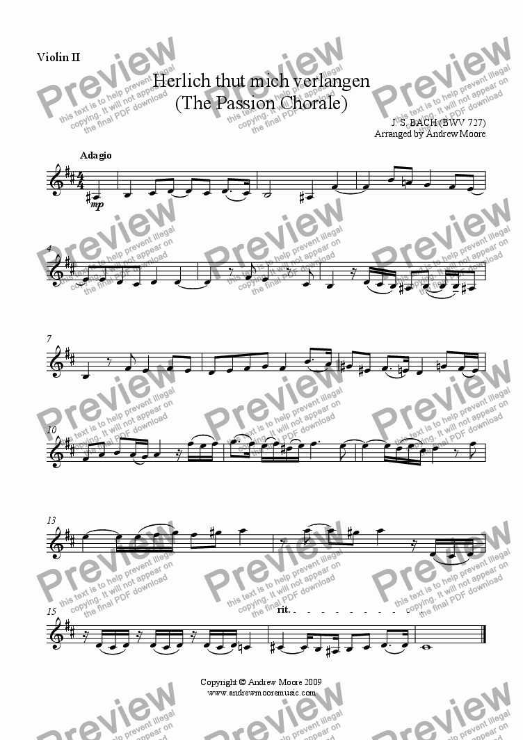 page one of the Violin 2 part from 'Herzlich thut mich verlangen (Passion Chorale) BWV727  arr. for String Quartet