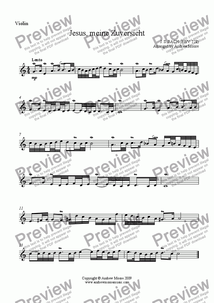 page one of the Violin part from 'Jesus, meine Zuversicht' (BWV728) arr. for String Trio