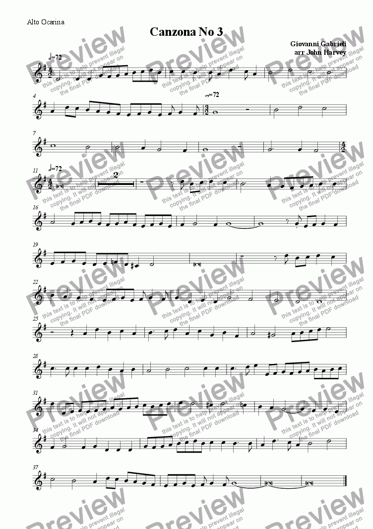 page one of the alto ocarina part from Canzona No 3