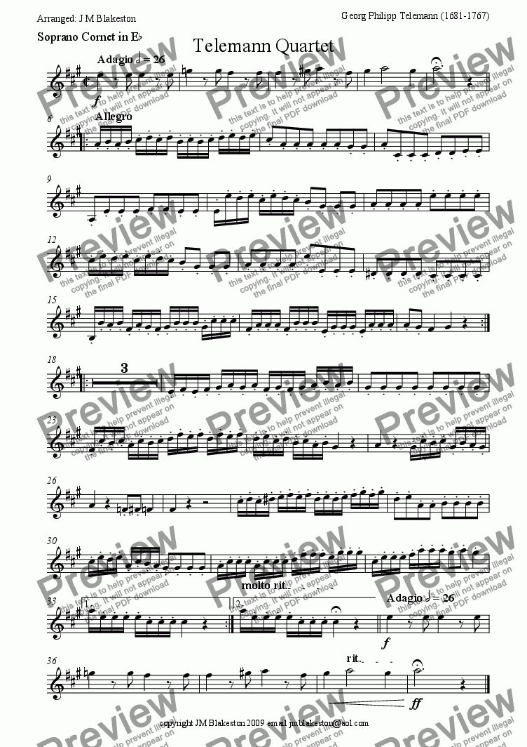 page one of the Soprano Cornet part from Telemann Quartet