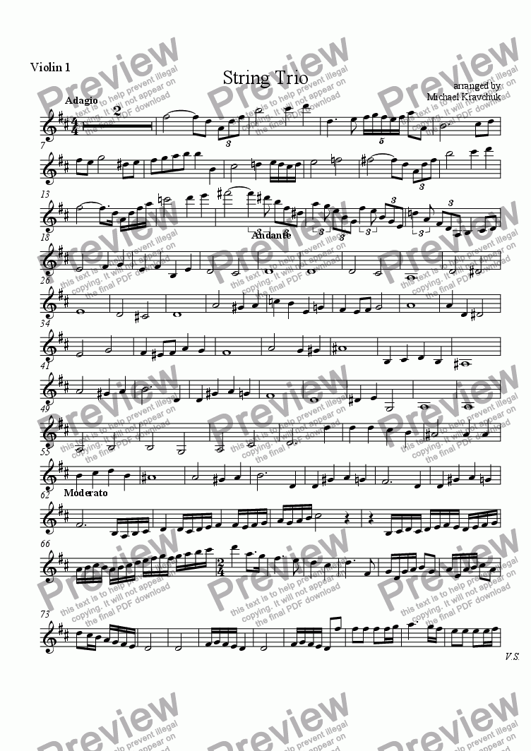 page one of the Violin I part from String Trio for Christmas