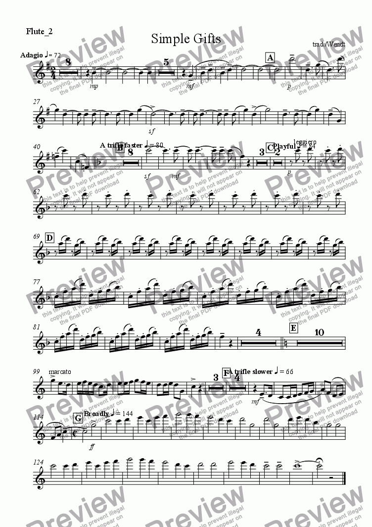 page one of the Flute 2 part from Simple american gifts