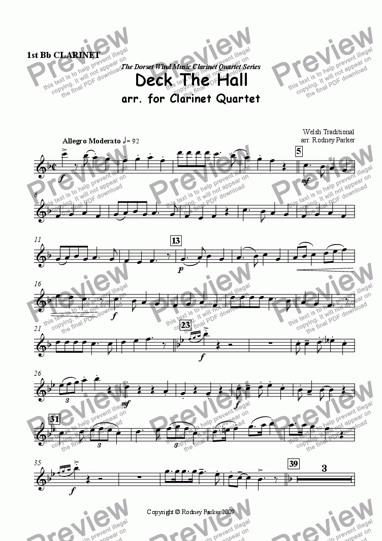 page one of the 1st Clarinet part from Deck the Hall arr. for Clarinet Quartet
