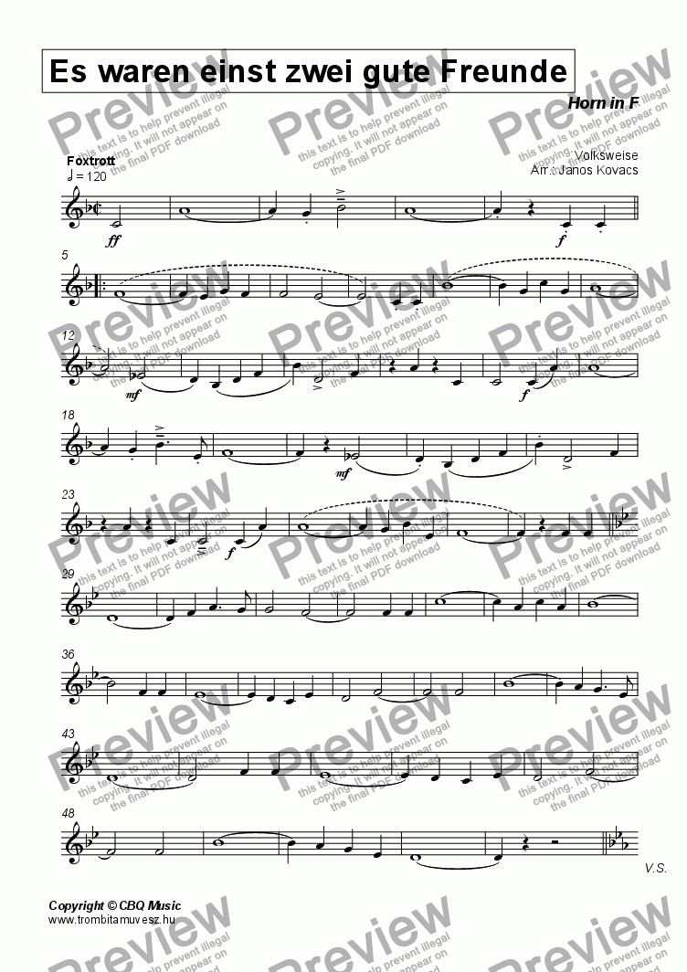 page one of the Horn in F part from Es waren einmal zwei gute Freunde