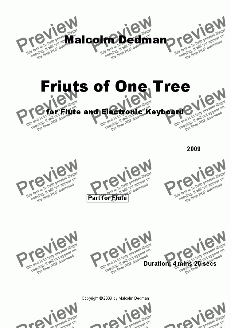 page one of the Flute part from Fruits of One Tree