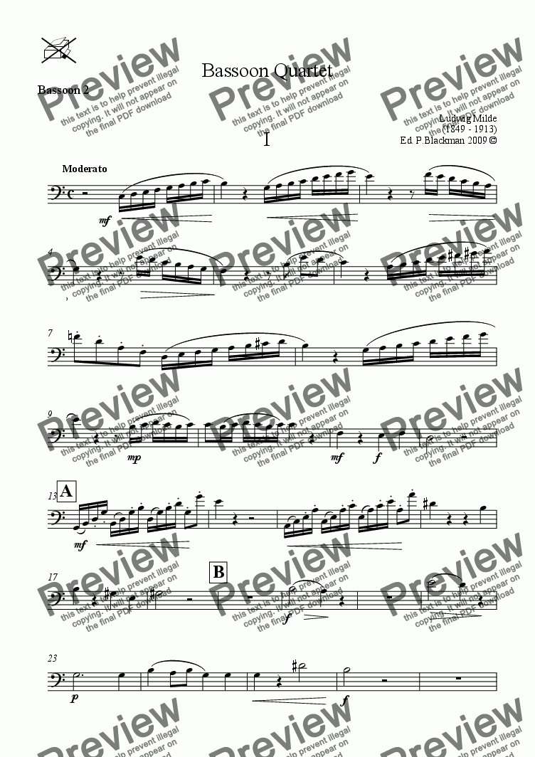 page one of the Bassoon 2 part from Milde Bassoon Quartet