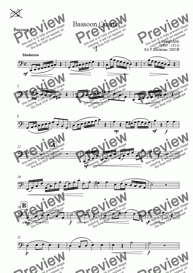 page one of the Bassoon 3 part from Milde Bassoon Quartet