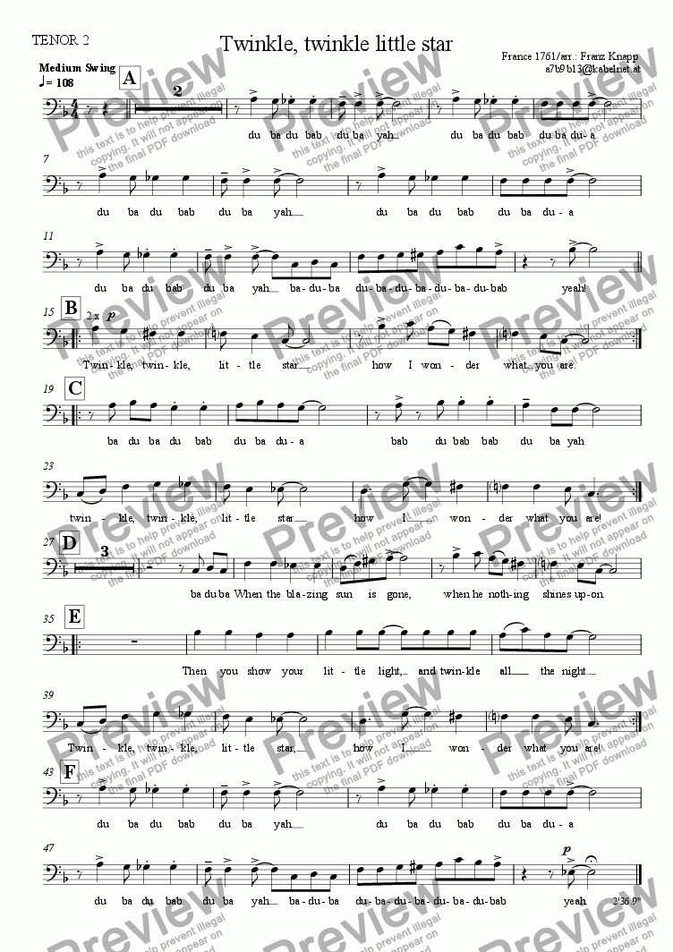 page one of the Tenor 2 part from Twinkle, twinkle little star