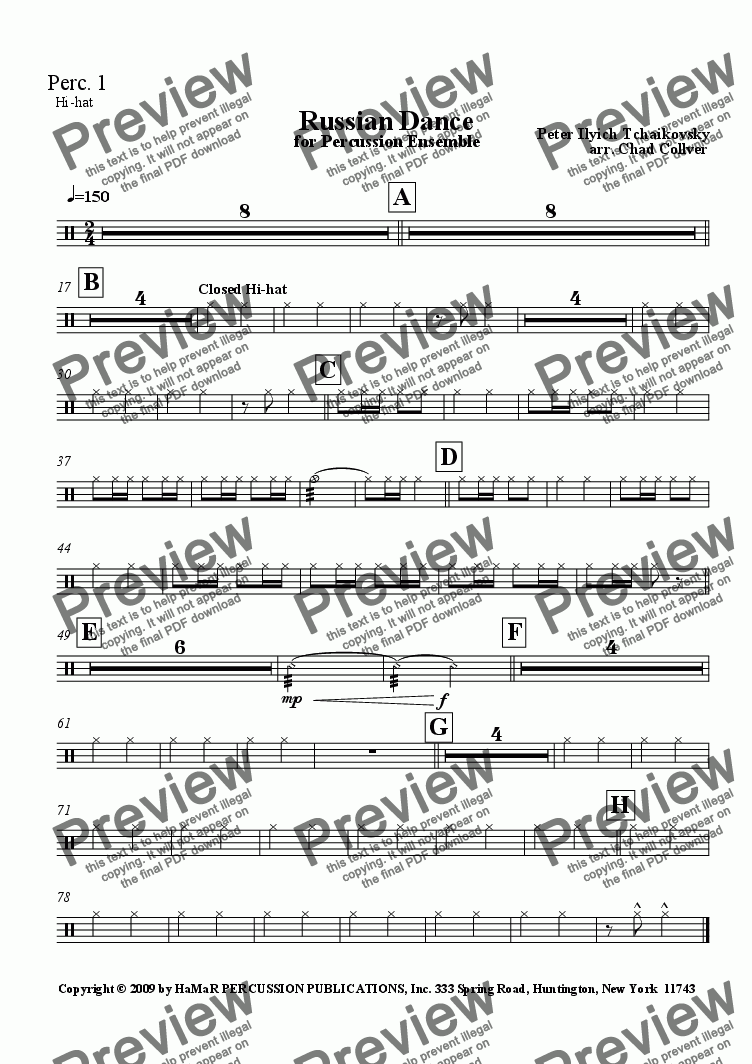 page one of the Percussion 1 part from Russian Dance for Percussion Ensemble