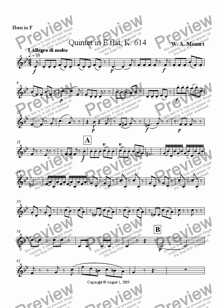 page one of the Horn in F part from Mozart Quintet in E flat opus 614 I Allegro di molto
