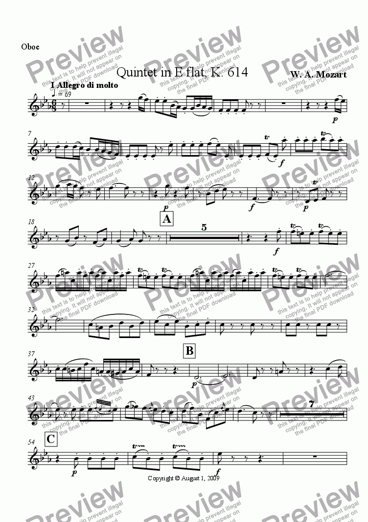 page one of the Oboe part from Mozart Quintet in E flat opus 614 I Allegro di molto