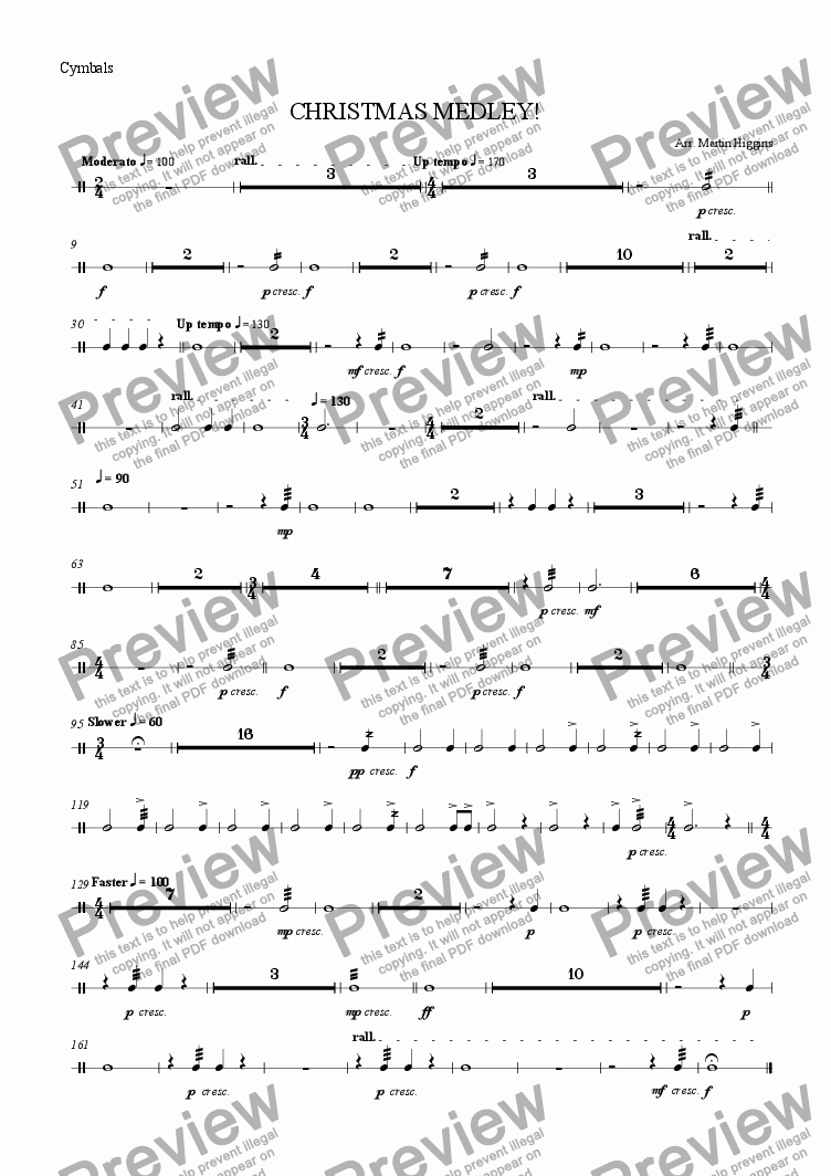 page one of the Cymbals part from Christmas Medley for Saxophone Choir