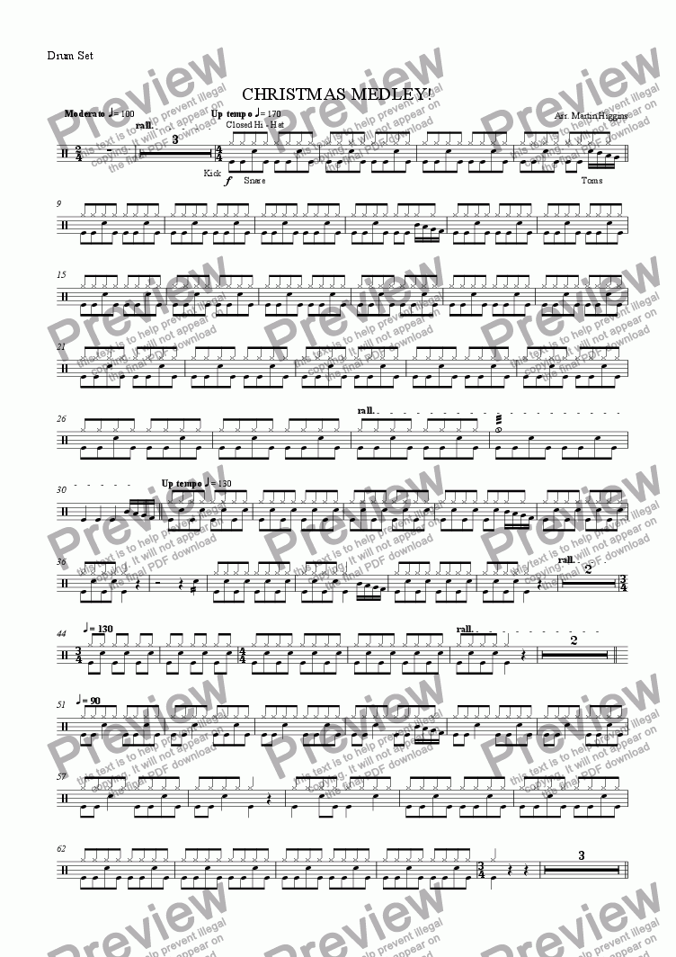 page one of the Drum Kit part from Christmas Medley for Saxophone Choir