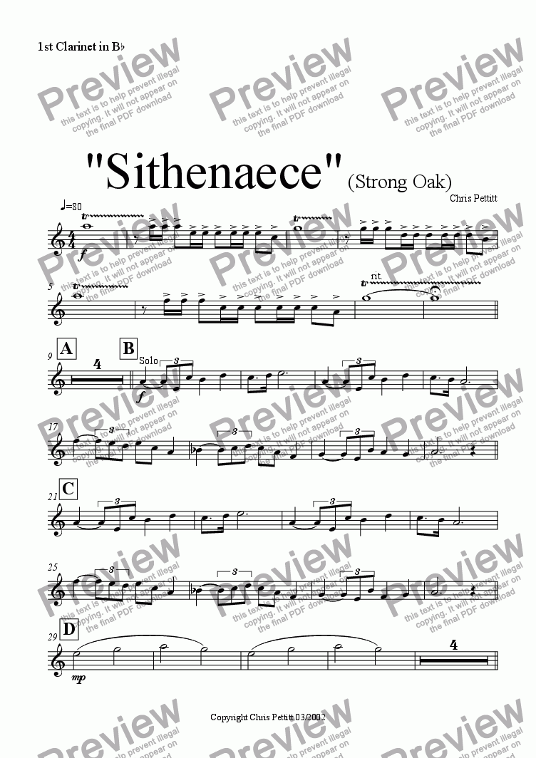 page one of the Bb Clarinet 1 part from Sithenaece-Strong Oak