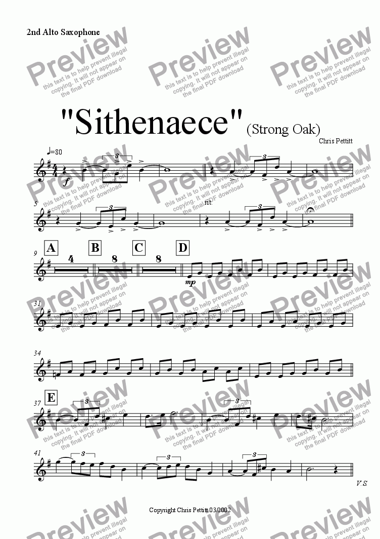 page one of the Alto Sax 2 part from Sithenaece-Strong Oak