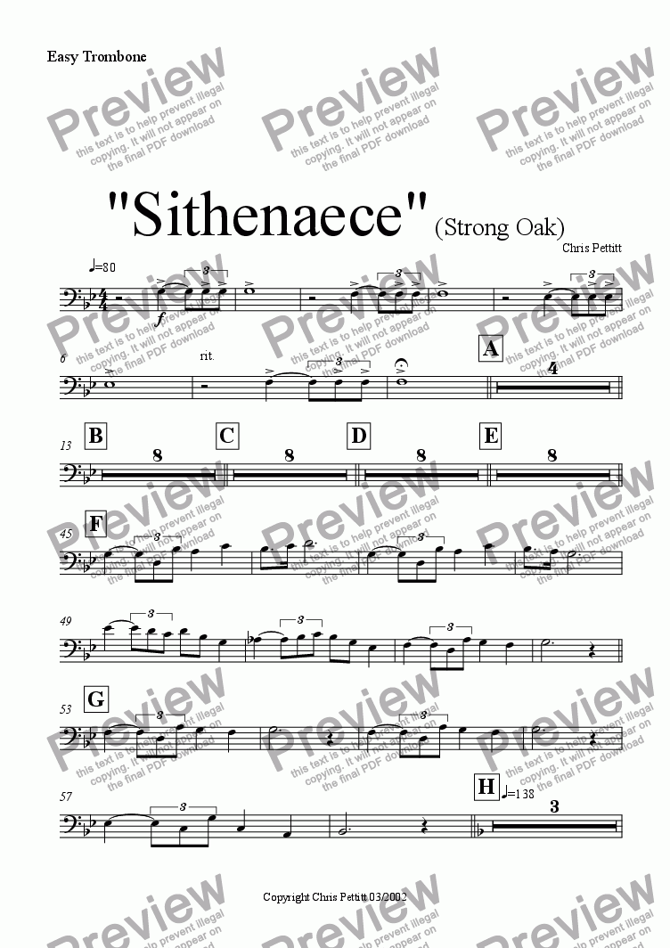 page one of the Easy Trombone part from Sithenaece-Strong Oak