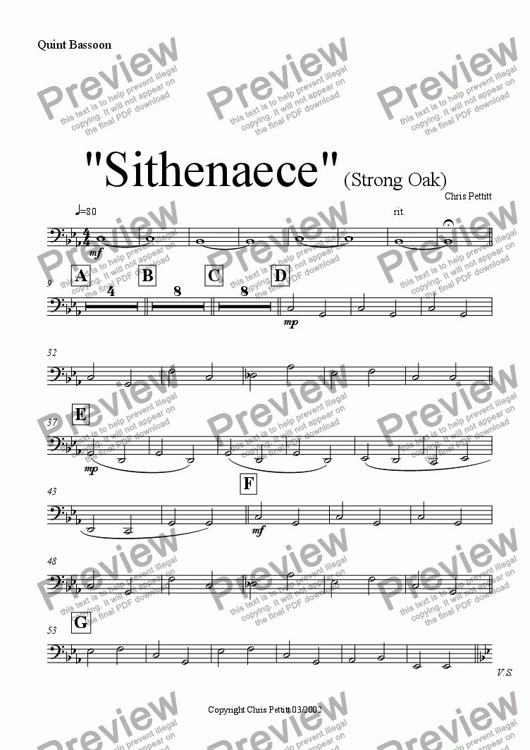 page one of the Easy Mini Bassoon in F part from Sithenaece-Strong Oak