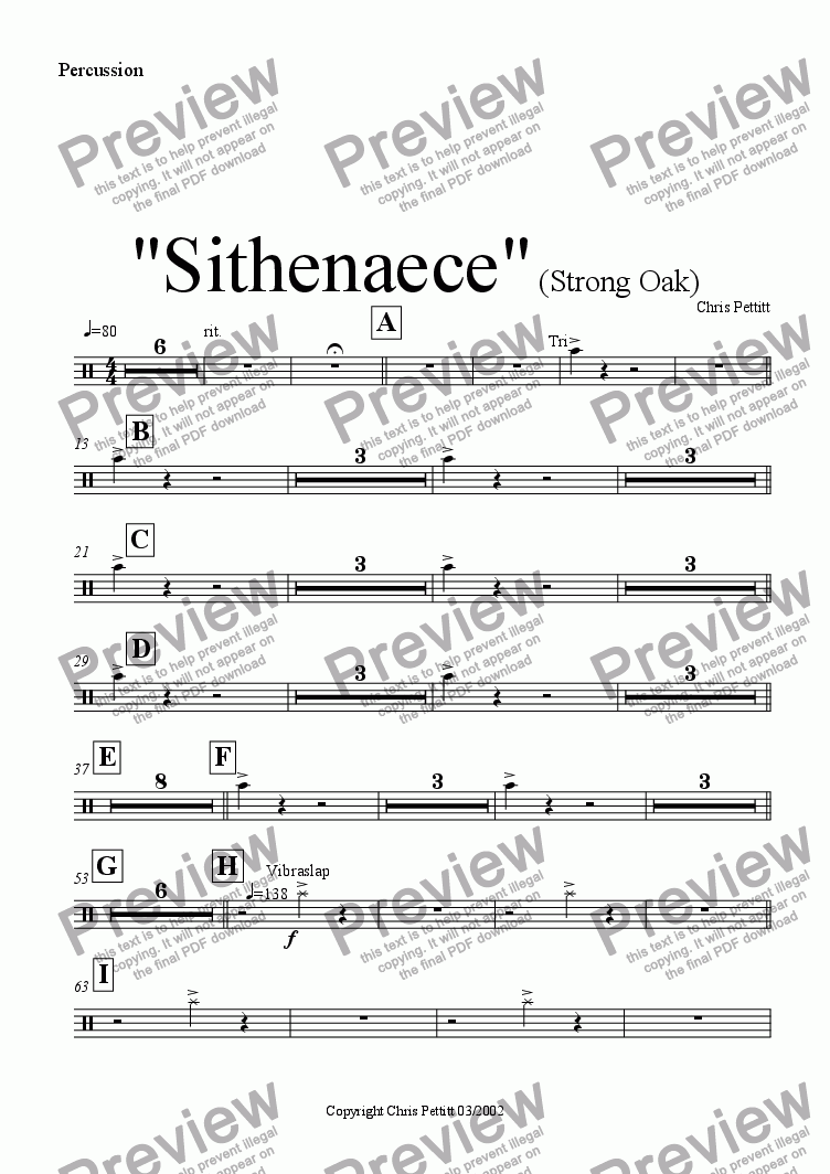 page one of the Percussion part from Sithenaece-Strong Oak