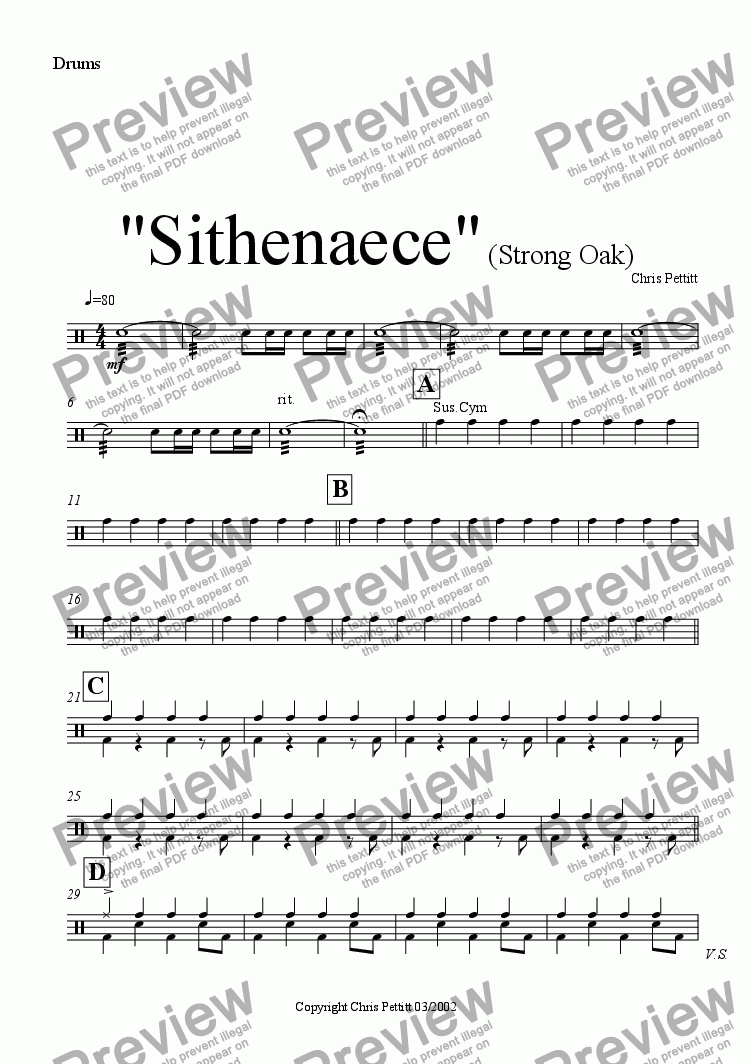 page one of the Drum Kit part from Sithenaece-Strong Oak