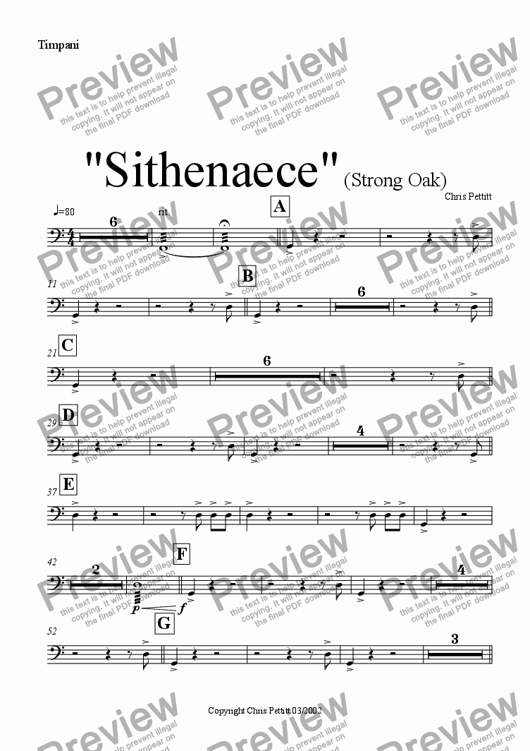page one of the Timpani part from Sithenaece-Strong Oak