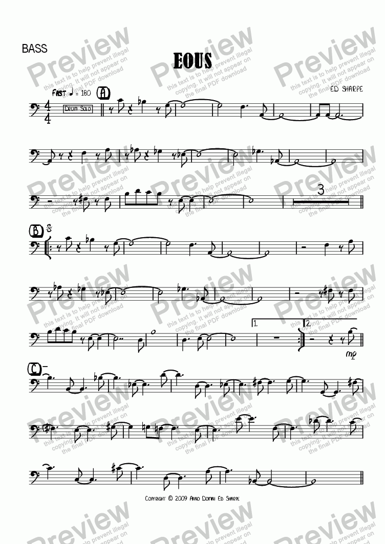 page one of the Bass part from Eous