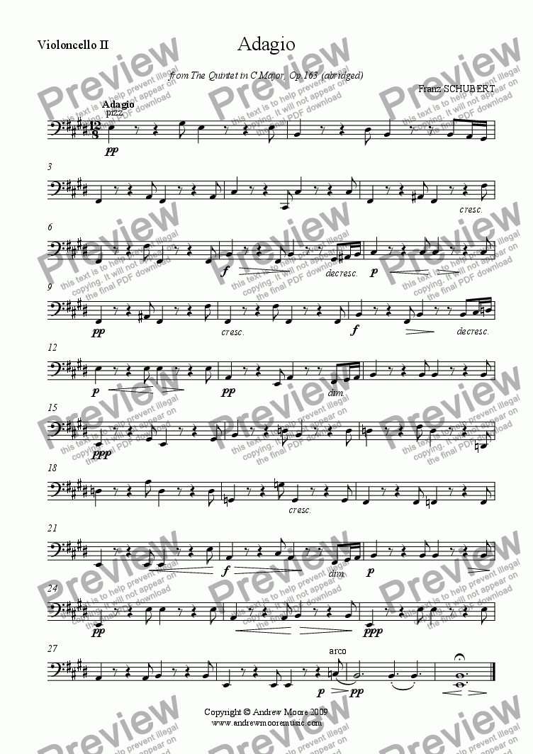 page one of the Cello 2 part from 'Adagio' from Quintet in C major, Op. 163 (abridged)